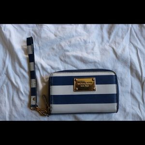 Michael Kors Blue White Stripe Zipper Wallet !